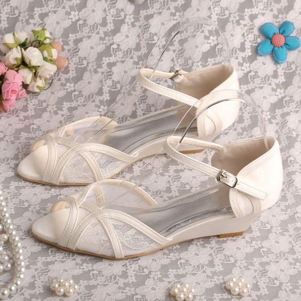 (38.25$)  Buy here  - Wedopus MW326 Lace Ivory Bridesmaid Shoes Wedge Heel Women Sandals Wedding