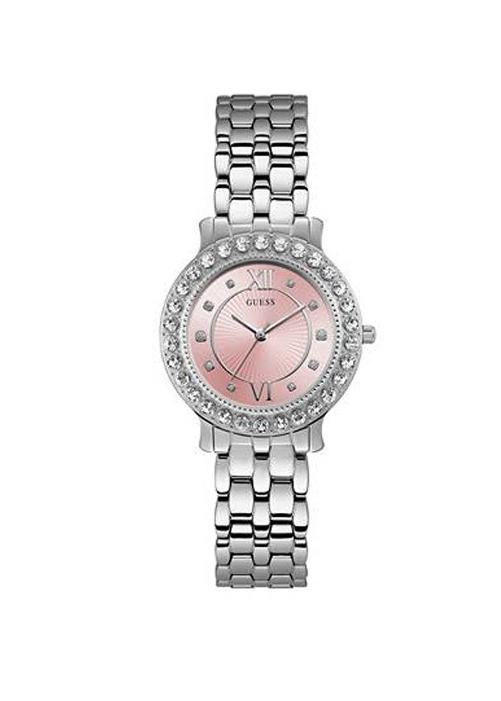 Guess Silver-Tone Pink Watch