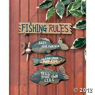 Fishing rules sign wall decorations party decorations for Party wall regulations
