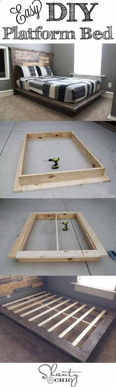 Easy DIY Platform Bed   Creative Pieces Of Wood For A New Bedroom With A Storage by DIY Ready at http://diyready.com/14-diy-platform-beds/
