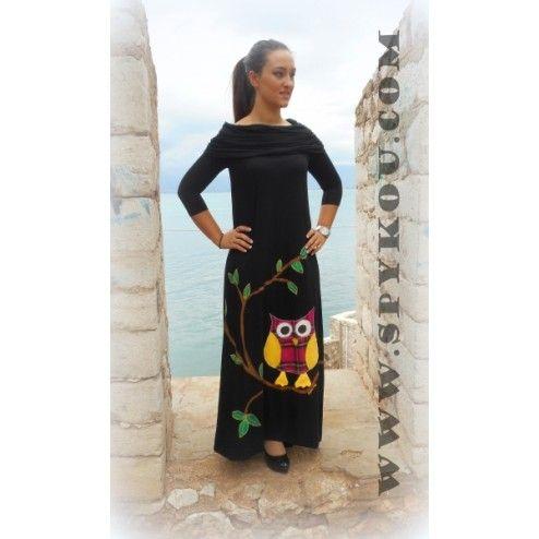 """Γυναικείο αμάνικο φόρεμα μάξι με γιακά """"Κουκουβάγια"""""""