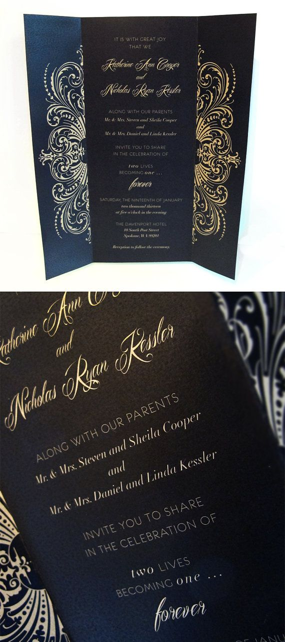 Elegant gate-fold wedding invitation set. Printed on luxurious heavy metallic gold paper. Other metallic paper colors are available. #blackandgold #luxuryinvite #metallicpaper #metallicgold