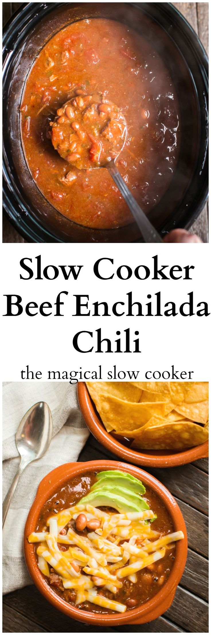 Slow Cooker Beef Enchilada Chili. Made with stew meat instead of ground beef. So good served with tortilla chips.