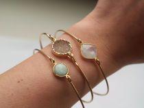 Bridesmaid Gift: Stackable Bangle Bracelets - Bangle Bracelet - Druzy Bangle - Gold Bangle Bracelet - Mint Green Bangle Bracelet