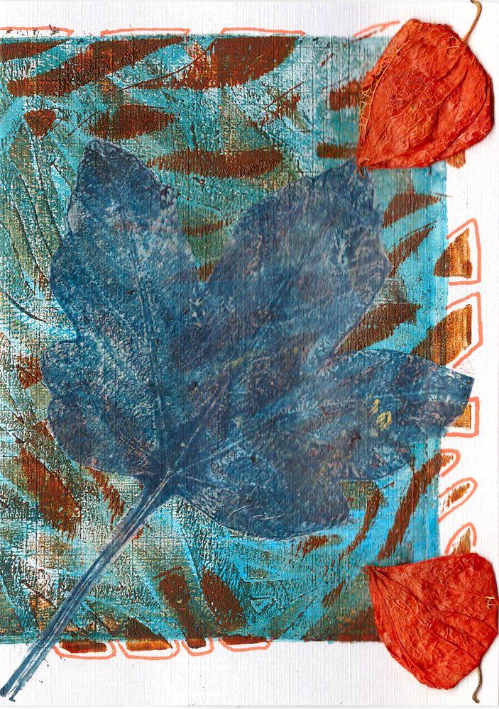 mixed media 104 verjaarskaart op linnen structuur parelmoer papier  gelli plate, sjablonen, blad op deli paper, gedroogde lampionnetjes, posca