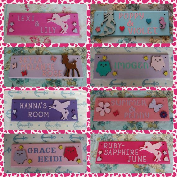 Girls Bedroom Door Name plaques. Any Name/Names by FairylandDecor