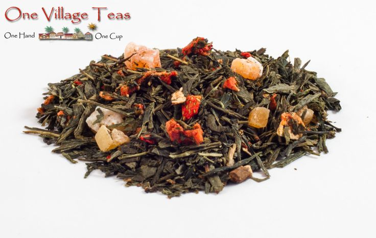 Long Island Strawberry Green Tea  Smooth green tea with an exceptional summertime sweetness of strawberry and papaya. Enjoyed served hot and as an iced tea.  www.onevillageteas.com  Ingredient Highlights Green tea, pieces of strawberry and papaya