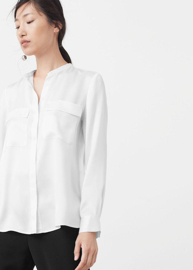 Jedwabna bluzka z kieszeniami | MANGO