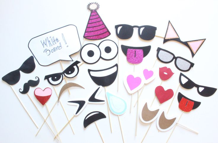22 pc Emoji Expressions Photobooth | Emoji Inspired Photobooth Props