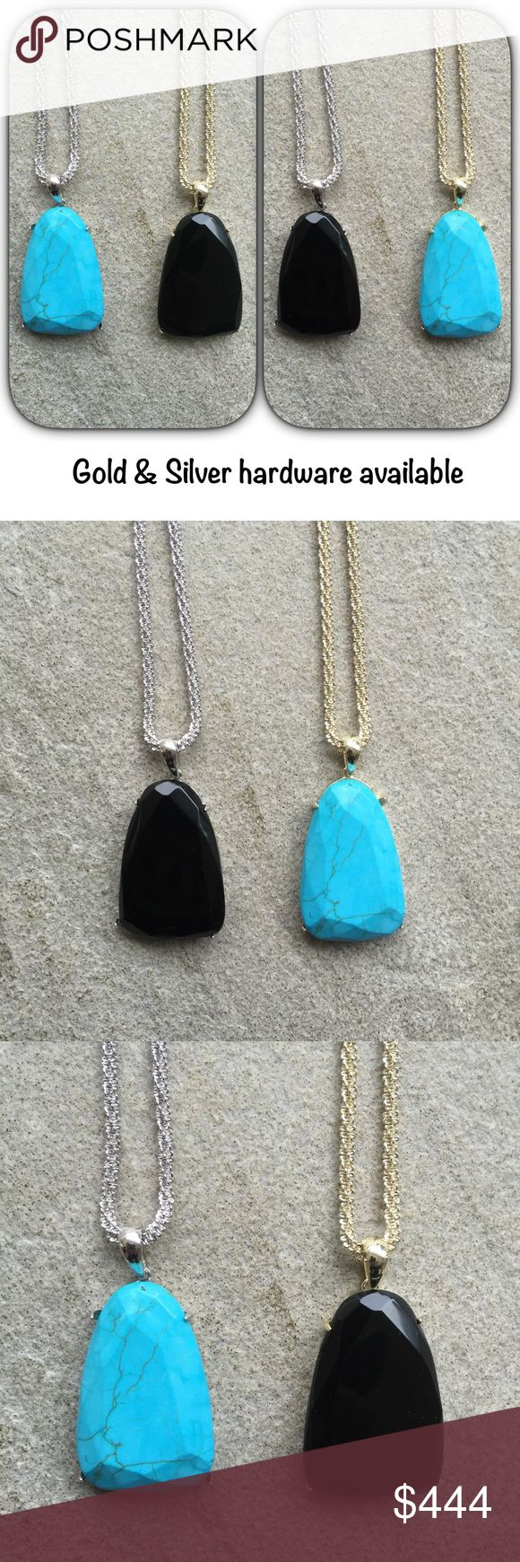 🆕KS Sandra's (both available) Both Sandra's are brand new. The turquoise & black stones are from Harlows. There is also a Rose quartz Sandra stone. First person to buy one can choose which metal hardware they want paired with either stone. The listings is for ONE Sandra ONLY. I will list the second one after this one sells. Will come with dustbag & box. ***Priced for offers. Please use the offer button and I will not talk price in the comments. Thanks! Kendra Scott Jewelry Necklaces