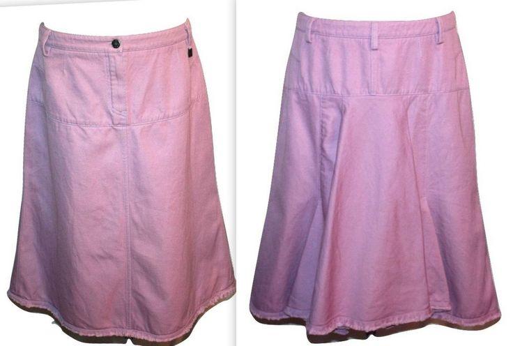 Louis Vuitton Mauve Cotton Linen Canvas Back Pleat Skirt Sz 44 Made in France #LouisVuitton #ALine