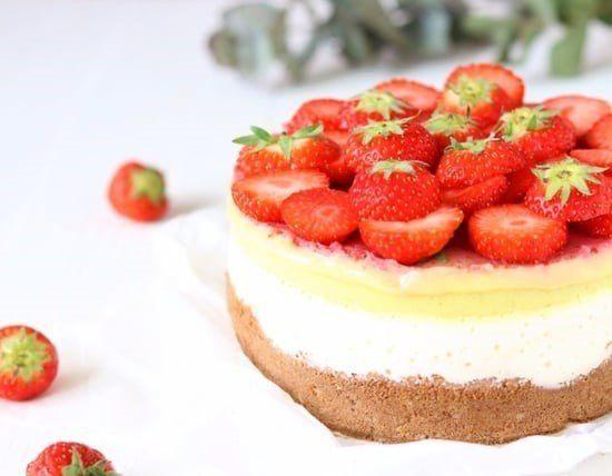 vlaflip, cheesecake, vanillevla, roosvicee, aardbeientaart, glutenvrij, coeliakie, biscuit, witte bonen, recept, verantwoord