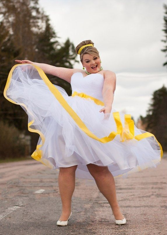 AWESOME wedding dress - plus size - love the yellow detail. redo with lavender or another purple and we;ve got a deal ;)