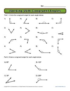 Worksheets 8th Grade Geometry Worksheets working with congruent angles josephine pinterest and worksheets
