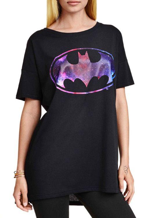 Bat Print Round Collar Short Sleeves T-Shirt