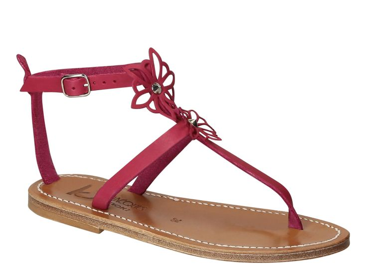 K Jacques flat t-strap sandals in Fuchsia Leather - Italian Boutique €153