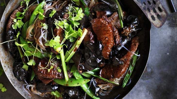 Mid-week dinner: Neil Perry's lamb, mushroom and hoisin noodle stir fry.