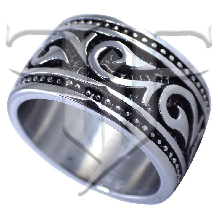 this mens hawaiian makau tribal hook ring hei matau band is made from solid surgical silver tone stainless steel