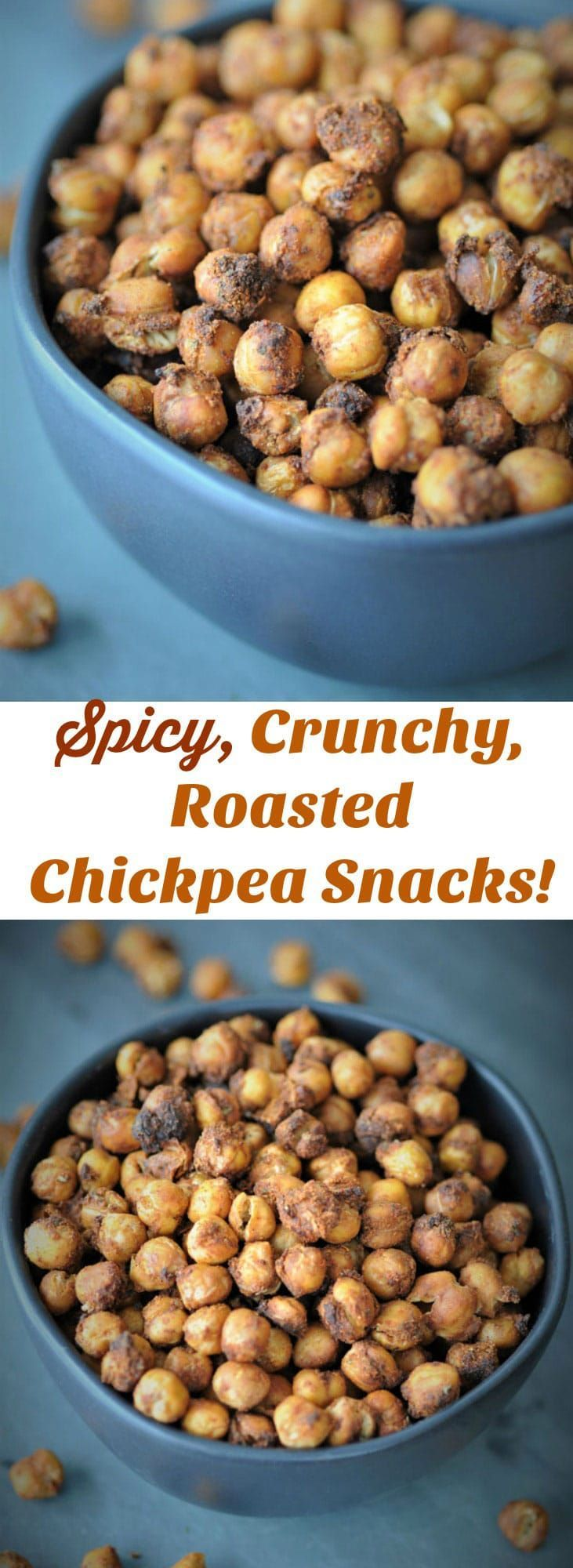 Pinterest pin for spicy roasted chickpeas with two pictures of a bowl of roasted chickpeas