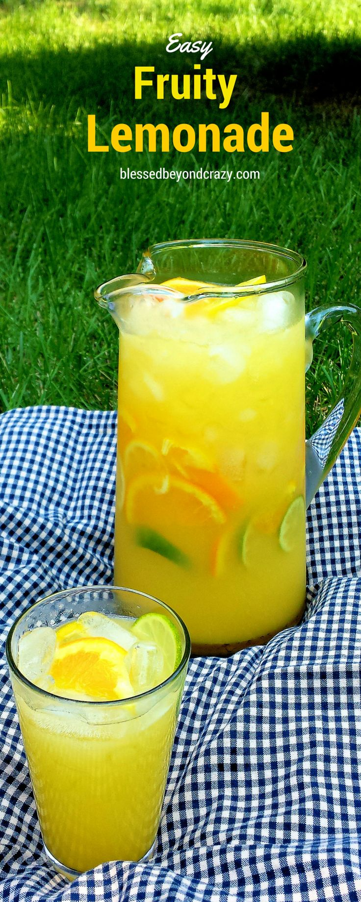 Refreshing Fruity Lemonade - non-alcoholic but you can always add some. Super easy and perfect for any picnic or party! Naturally gluten free and non-alcoholic, but you can always add a bit of liqueur and make it an adult drink. #blessedbeyondcrazy #lemonade