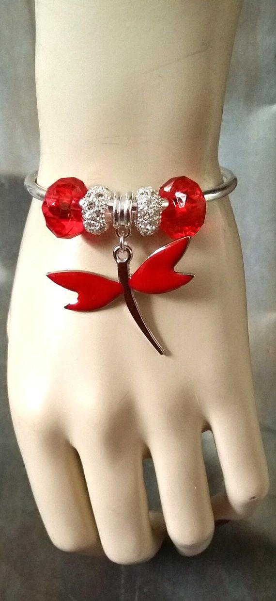 Dragonfly - bangle / bracelet - silver plated