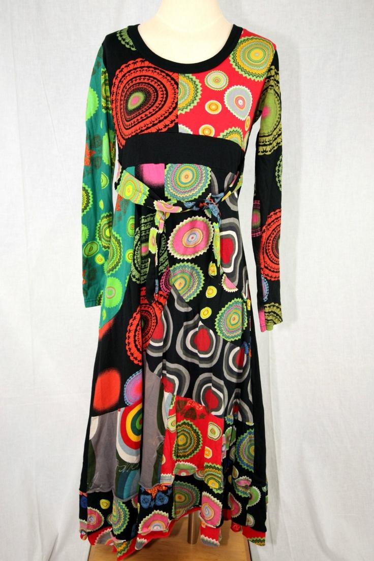 LOVE this, VERY Klimt    Estimated Size 8 Long Desigual Dress Wonderful Embroidery | eBay