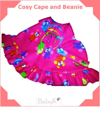 Lovely for winter!  BabyK Cosy Cape and Beanie.