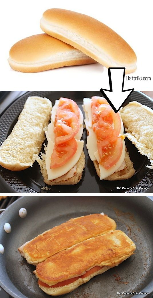 #10. Use leftover hotdog buns for grilled sandwiches! | 24 Creative Ways To Use Leftovers
