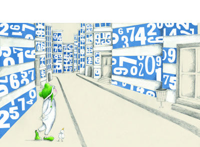 'Everywhere I looked all I saw were numbers' signed limited edition print by Sue de Gennaro, from her picture book 'The Pros and Cons of Being a Frog'. Available from Books Illustrated. http://www.booksillustrated.com.au/bi_prints_indiv.php?id=74&image_id=409