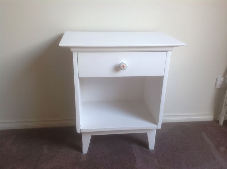White cupboard completely sanded back and painted white. Would suit bedside table or small lamp table. $45  SOLD