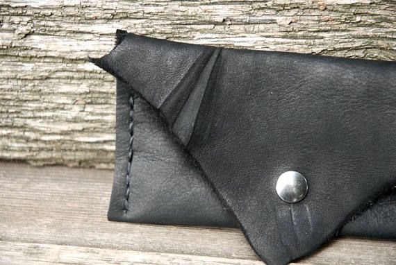 Black leather snap pouch deerskin leather pouch black wallet