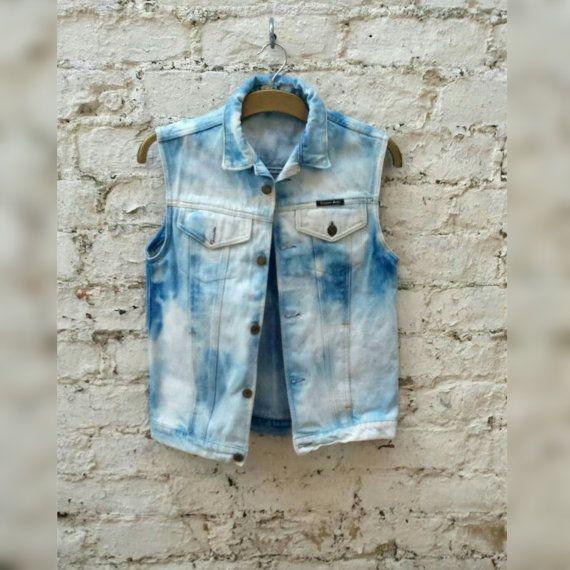 Denim Jacket Sleeveless Denim Vest Bleach 90s Grunge Gilet Jean Shirt to fit size M