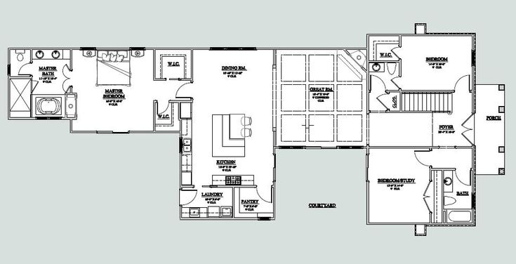 U shaped ranch with courtyard plan w23195jd u shaped for Rectangle shaped house plans