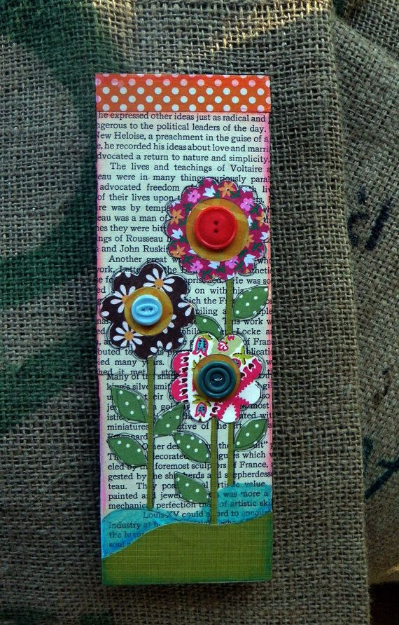 This would make a cute bookmark.  Have to try this with my girl!  Mixed Media Paper Art Flower 3 x 10 Garden by FiveTimesBlessed, $30.00