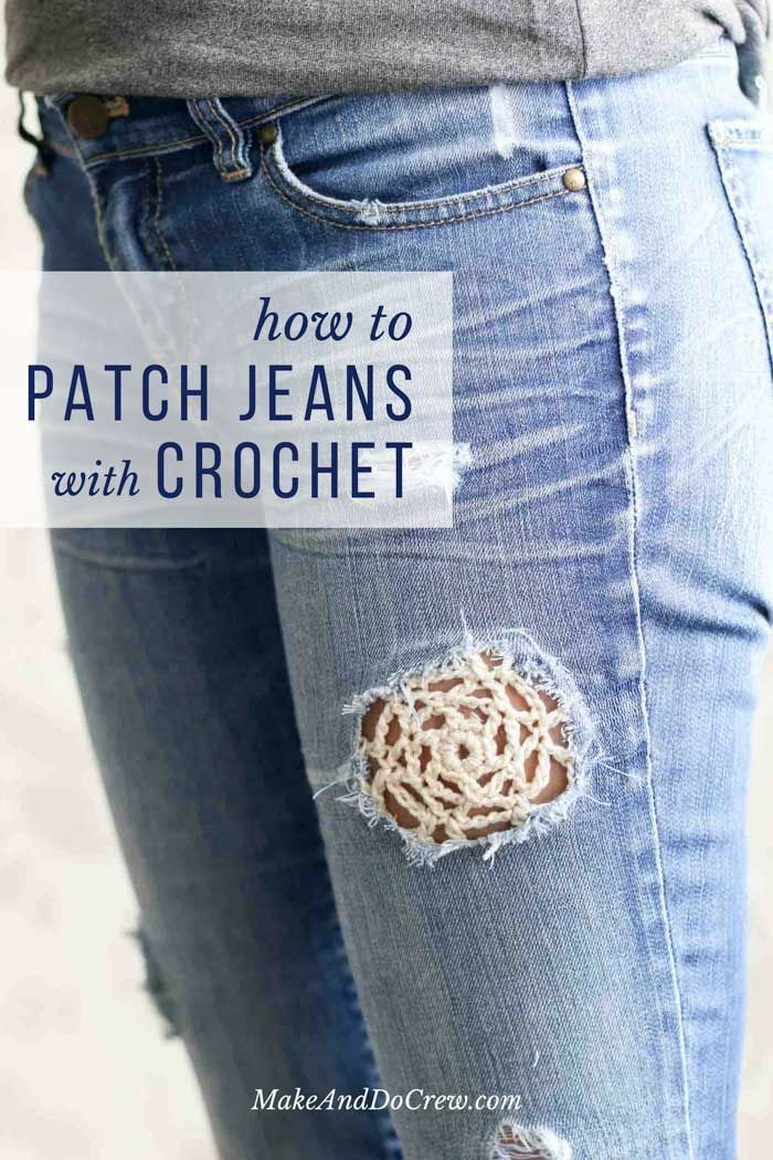Love this boho look! How to use crochet to patch holes in your denim jeans. Free crochet lace doily pattern too!