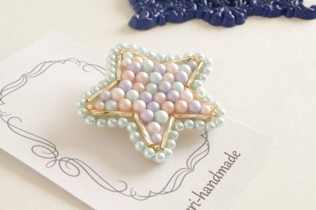メルヘン星のブローチ メルヘンカラー(ビーズ刺繍)