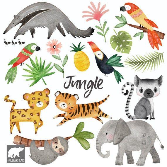 Watercolour Jungle Clipart Jungle Animals Hand Painted Etsy In 2021 Woodland Clipart Safari Animals Art