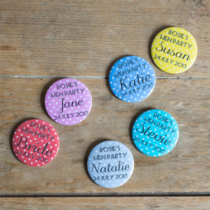 Last but not least, Oh Squirrel have a fine selection of bridal party badges which can be customised. There is a huge selection of patterns to choose from and will look super cute when you partake in all your hen party day activities.