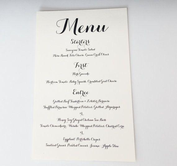 Printed Wedding Menu Card Menu Card by WeddingMonograms on Etsy