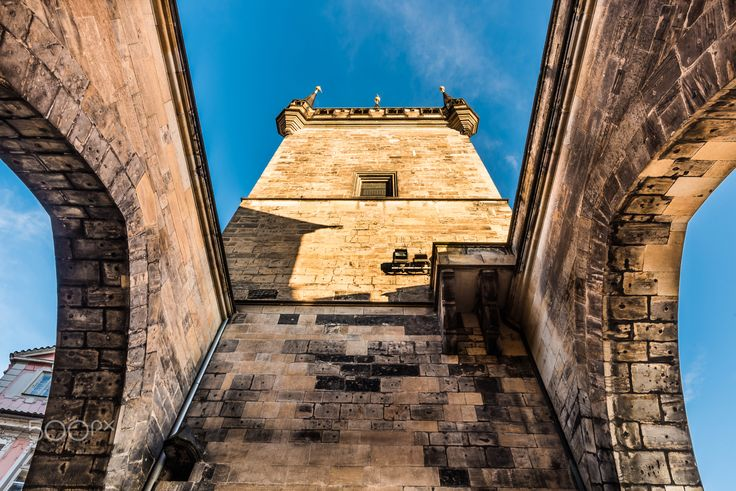 Under the Gate - Gothic arches of the gate joining two lesser town brdige towers in Prague, as an entrance to Charles bridge.