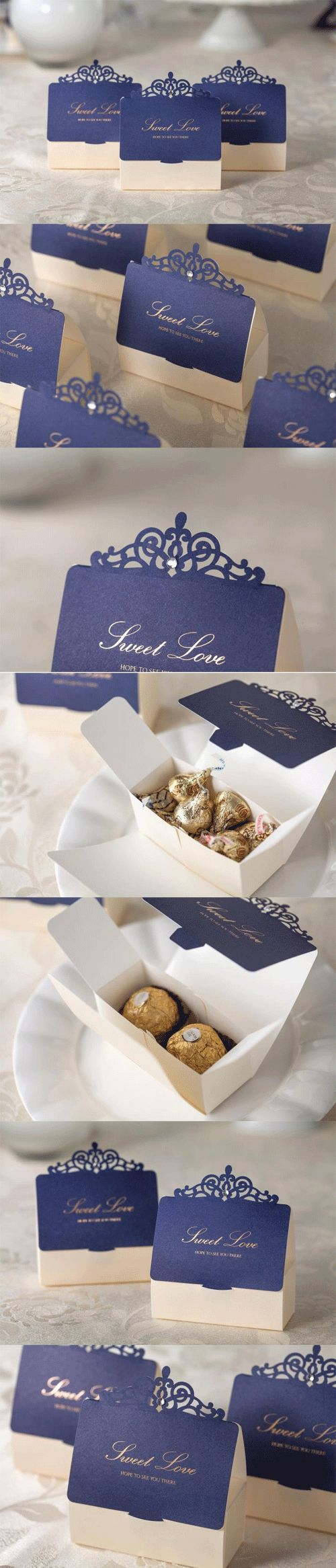 New Arrival Laser Cut Chocolate Wedding Favor Candy Box to Matching The Invitation Card CW502 #fashionweddingcards #blue #weddingfavor