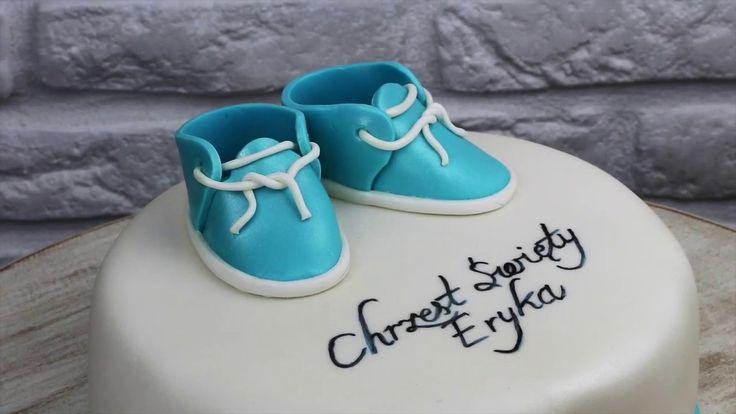 Orchideli- jak zrobić proste buciki z lukru na tort chrzcinowy, tort na chrzciny. Fondant baby shoes for baptism cake tutorial.
