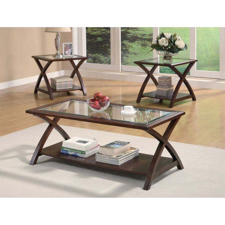 Coaster Furniture 3 Piece Glass Top with Shelf Coffee Table Set - - 701527