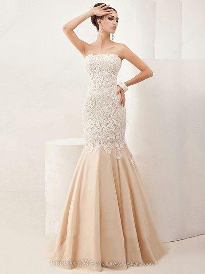 Trumpet/Mermaid Satin Tulle Strapless Appliques Lace Sweep Train Formal Dresses -AU$233.79