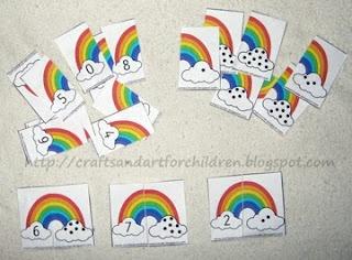 Mathe, Zahlenpuzzle, Puzzle, Ziffer und Menge zuordnen, Mengenverständnis, Zahlen, Zahlenraum bis 10, Thema Regenbogen Regenbögen und Wolke Wolken, Karten, Klasse 1, Vorschule