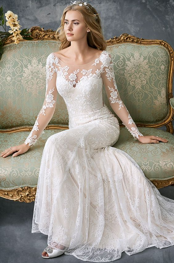 f09398c23 Kenneth Winston 1765 | gorgeous lace fitted gown | illusion and lace long  sleeves | open low back | sweetheart heart neckline with illusion and lace  build ...