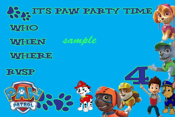 Paw Patrol Party Invites Download editable. You by BellaBabies4 ...