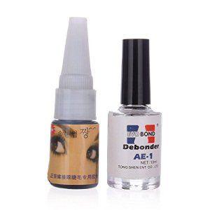 LuckyFine Professionnel Set de Colle Adhésif Noir Dissolvant Pour Faux Cils Eyelashes Extension: Tweet Dissolvant Net: 10ml Colle Net: 15ml…