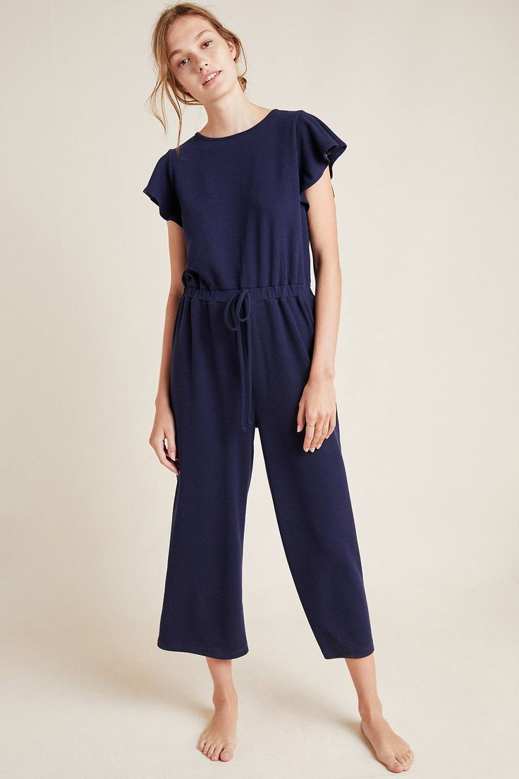 Lively Flutter-Sleeved Jumpsuit by Anthropologie in Blue Size: Xs, Women's Jumpsuits