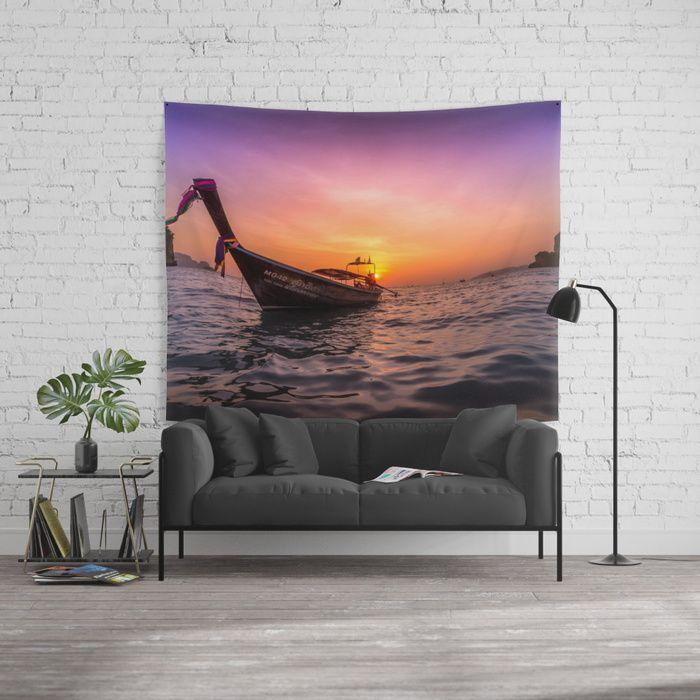 Longtail Sunset Wall Tapestry #sunset #beach #paradise #tropical #summer #longtail #ocean #sea #adventure #travel #wanderlust #thailand #landscape #walltapestry #tapestry #homedecor